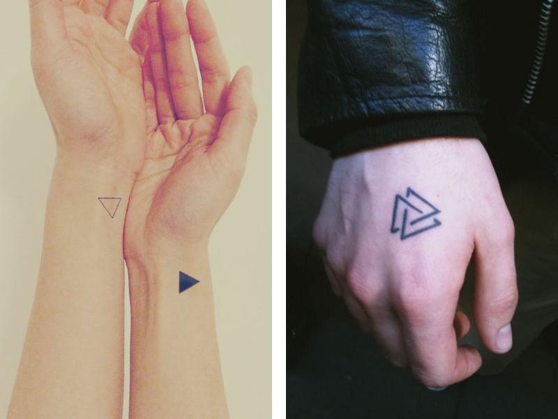 Тату в виде треугольников